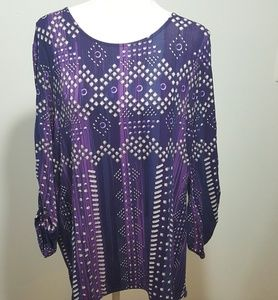 Chico's Geo Jewels Purple Rena Top Ruched Sleeve